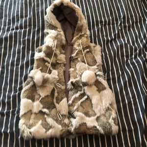 Jackets & Blazers - Faux Fur vest with hood